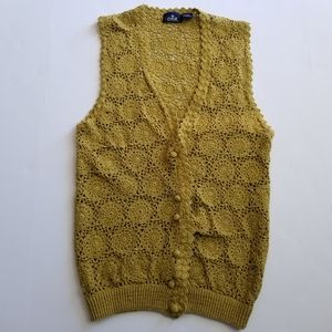 Boho Hippie Floral Crochet Vest Button Down